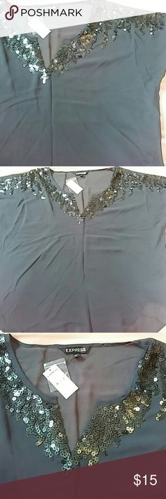 NWT Express Sequin Top NWT sheer charcoal gray top with sequins on shoulders and along neckline. Dolman sleeves. V-neck. Rounded bottom. Plain on back. Super cute and stylish! Express Tops Blouses