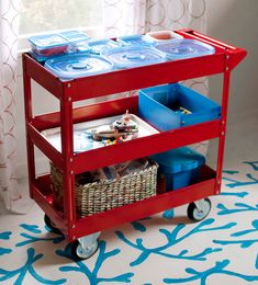 All for the Boys - All for the Boys - LEGO. Old diaper changing cart as lego storage. site also has a lego wall organization system with baskets, bins, and buckets all labled Craft Storage Cart, Lego Storage, Kids Storage, Table Storage, Storage Organization, Storage Ideas, Kitchen Storage, Smart Storage, Creative Storage