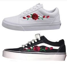 shoes white roses 2017 cute sneakers white sneakers black black sneakers kicks rose vans pink blue white vans white vans sk8 hi high tops damn daniel white shoes black shoes printed vans cute shoes flowers