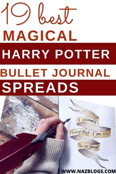 If you're a fan of Harry Potter and love Bullet Journals like I do, then here's a list of 19 Magical Harry Potter Bullet Journal Spreads you'll definitely love! #bujoinspiration #harrypotterbujo #bulletjournalspreads #bujospreads #harrypotter