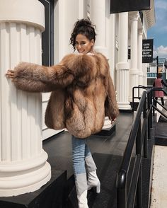 11 fur coat outfits for women : honcho lifestyle. Winter Coat Outfits, Winter Fur Coats, Fall Outfits, Fox Fur Jacket, Fox Fur Coat, Winter Jackets Women, Coats For Women, Brown Fur Coat, Red Fur