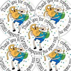 20  2 Inch round Adventure Time Birthday sticker labels party favors on Etsy, $6.00