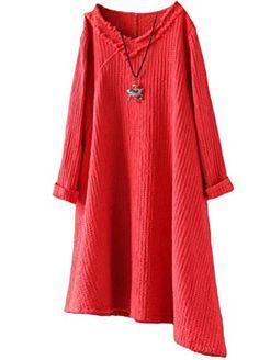 44e4237717 Minibee Womens Irregular Hem V Neck Cotton Linen Dress Red M --    AMAZON  BEST BUY     LinenDresses