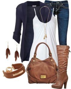Casual Outfit・Repin if you like this outfit. This ia my favorite outfit.  Jeans, white top,  and cardigan, sweater, or just a great bag!