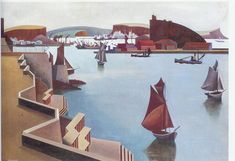 The Cattewater, Plymouth Sound  Edward Alexander Wadsworth (29 October 1889  21 June 1949) was an English artist, most famous for his close association with Vorticism. He painted, often in tempera, coastal views, abstracts, portraits and still-life. He was also an engraver on wood and copper. In the First World War he designed dazzle camouflage for the Royal Navy, and after the war he continued to paint nautical themes.