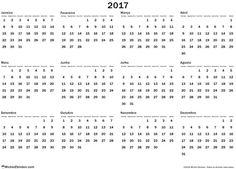 calendário 2017 anual livre para imprimir Anual regular domingo Brasil