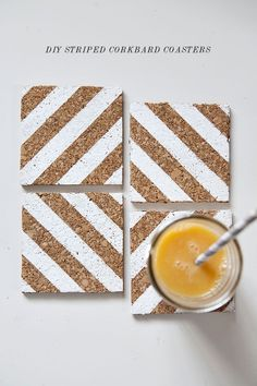 Learn how to make these cool striped DIY corkboard coasters.