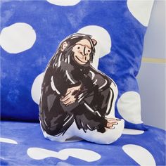 Sitting Chimp Pillow | Crate and Barrel