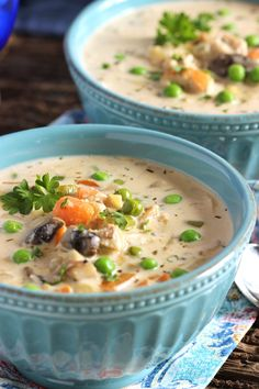 Rich, creamy, hearty and healthy, this Creamy Chicken Soup recipe has it all and is packed with veggies. The perfect one pot comfort food! | @The Suburban Soapbox