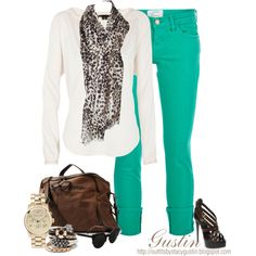 Love the turquoise pants would wear black flats instead