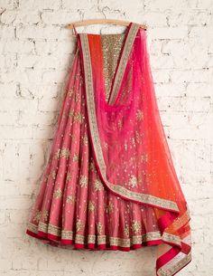 Easy On The Eyes Pink Colored Soft Silk Lehenga Choli - Indian Bridal Outfits, Indian Bridal Lehenga, Indian Designer Outfits, Pakistani Outfits, Indian Dresses, Indian Clothes, Designer Dresses, Half Saree Lehenga, Silk Lehenga