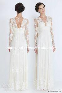 1 PC Drop Shipping Bridal Wedding Dress Long Sleeve Chiffon Lace Custom Wedding Gown (W52202)