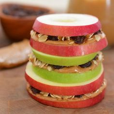 Apple Sandwiches with Honeyed Peanut Butter, Oats, and Raisins. I could see making this when you want a light dinner for some tv watching.