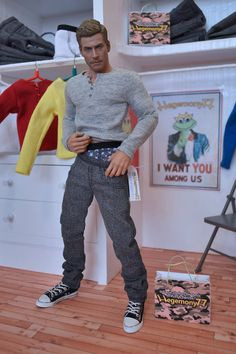 Hot Toys TrueType TTM 19 figure in 1/6 scale grey jeans pants and long sleeve henley T shirt
