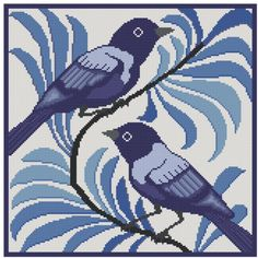 Arts and Crafts Tile adaptation Bluebird cross stitch pattern PDF. $4.99, via Etsy.