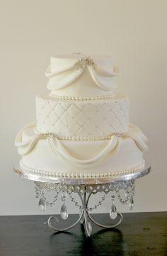 White and Gold Wedding. Natalie & Bill's Sparkly White Wedding Cake