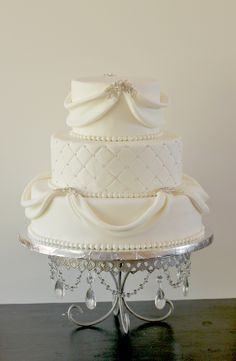 The Couture Cakery • Designer Cakes, Cupcakes, Dessert Table Designs in Central Pennsylvania: Natalie & Bill's Sparkly White Wedding Cake