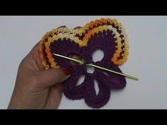CROCHÊ - FLOR 069 AMOR PERFEITO 4 Crochet pansy flower