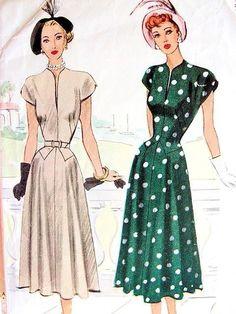 1940s LOVELY DRESS PATTERN FLATTERING SHAPED SLIT NECKLINE, FLARE SKIRTED McCALL PATTERNS 7204