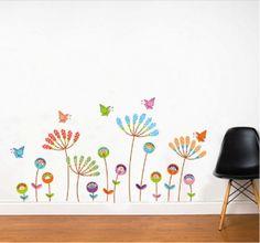 Leuke gekleurde bloemen voor op iedere kamer! Kijk snel op www.hippemuurstickers.nl
