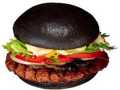 STRANGE FAST FOOD ITEMS - BURGER KING HONG KONG - SQUID BLACK INK BUN FOR DELUXE HAMBURGER