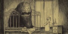 """""""Danish artist John Kenn Mortensen (who goes by Don Kenn on Tumblr and other sites) taps into the terror of our childhood nightmares with brilliant and terrifying monster drawings that he does on sticky notes. The round and fuzzy forms of Mortensen's illustrations make them seem like they could come from an innocuous children's book, but the characters in his pictures are undeniably dark and terrifying."""""""