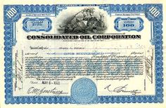 "Check it out! ""Beautiful certificate from the Consolidated Oil Corporation issued in 1932. This historic document was printed by the American Banknote company and has an ornate border around it with a vignette of an allegorical woman leaning against a lion. This item has the signatures of the Company's President and Secretary and is over 75 years old."" Banknote, Old Trucks, Secretary, Check It Out, Stock Market, Vignettes, Certificate, Lion, Woman"