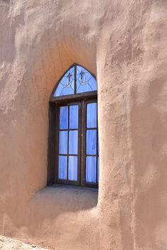 Church Window with adobe, Taos, NM