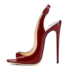 Mermaid Women's Shoes Open Toe Patent Leather Sling Back High Heel Sandals-Burgundy-6 [CANADA]