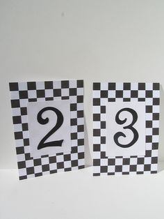 Black and White Checkered wedding Table Numbers