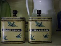 From the Meadowview Farm blogspot: vintage bluebird spice jars.