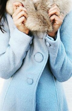 Faux fur, assymetrical, big buttons. I like this color for a coat! Collared Beatrix Coat