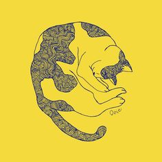 【Curl up cat】#illust #catart #design #猫 #cat #イラスト #猫デザイン #猫イラスト #細密画 #猫の絵 Yellow Cat, Cat Art, Illustration Art, Cats, Gatos, Cat, Kitty, Kitty Cats