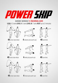 NEW: Power Skip Workout  #darebee #fitness #workout Jump Rope Workout, Dumbbell Workout, Boxing Workout, Boxing Training, Fit Board Workouts, Gym Workouts, At Home Workouts, At Home Workout Plan, Home Workout Men