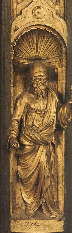 Biblical Person (detail from the east door) 1425-52   Gilded bronze   Baptistry, Florence   Lorenzo Ghiberti