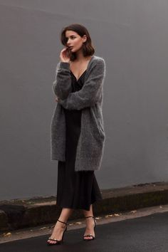 Oversized grey Acne knit + Black slip dress | Harper and Harley