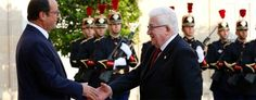 French President Francois Hollande (L) greets Iraq's President Fuad Masum as he arrives at the Elysee Palace in Paris. French President, Usa News, Presidents, Palace, War, Palazzo, Palaces