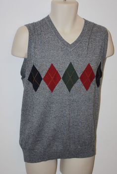 NEW Alan Flusser Men's 2XL gray black red green Argyle V Neck Sweater Vest NWT in Clothing, Shoes & Accessories, Men's Clothing, Sweaters | eBay