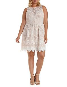 Plus Size Plunging Crocheted Mesh Skater Dress
