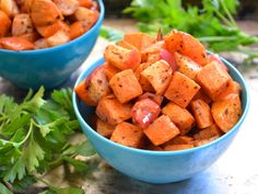 Roasted Sweet Potatoes and Apples are a delicious side dish, marrying the flavor & texture of the fruits & veggies!  #sides #sweetpotatoes #apples #skinnyms