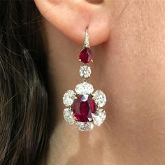 A Pair of Burma No Heat Pigeon's Blood Ruby and Diamond Earrings ... a treasure to behold ♥️♥️♥️ @christiesinc @christiesjewels #ChristiesPrivateSales #InvestmentQuality