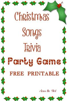Christmas Song Trivia Party Game | Across the Blvd