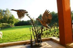 Vögel aus Metall , gartenfiguren tiere metall