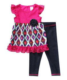 Look at this Youngland Hot Pink Flutter-Sleeve Top & Leggings - Infant & Toddler on #zulily today!