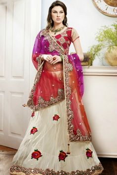 309aaff0c2 Cardinal Red and Beige Yellow Dupion Silk and Net Lehenga Choli Sku Code:37-