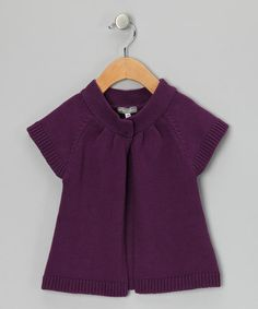 Take a look at this Purple Short-Sleeve Cardigan - Infant by Petit Confection on #zulily today!
