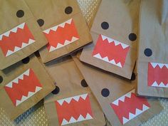 Paper-bags, for sending the guys home with a soda and a few homemade gluten-free cookies. But these Domo baggies are NOT a theme! 'Kay?