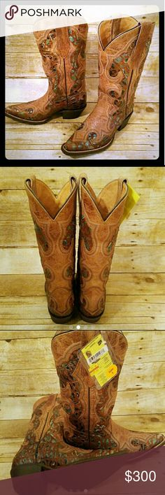 Cowgirl Vintage Boots Just in time for Christmas ladies!!!  Authentic Durango Women's Ole '66 Overlay Western Boots are distressed aqua and tan boots with a pebbled look that is tempered by tan leather overlays.? Add fashion to traditional western styling in a style color that will get you notice.  Paid $352.63, I'll let them go for $ 300.00 must sell from my collection, these were clearance and have been discontinued, so if your a collector as myself these are for you, I didn't realize I…