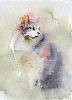 Custom watercolor pet portrait by Michelle Arnold. An affordable portrait of your beloved pet. Watercolor and ink on Canson watercolor paper. 4 x 6 inches Does not come framed or matted. I will work off of a photo of your pet :) Watercolor Animals, Watercolor And Ink, Watercolor Paintings, Animal Paintings, Animal Drawings, Image Chat, Cat Drawing, Anime Comics, Cat Art