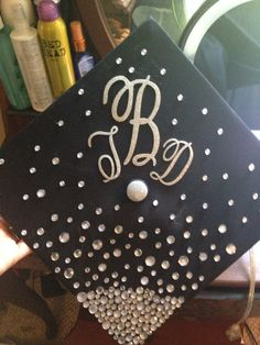 initials and rhinestone graduation cap - Graduation Caps Decorated
